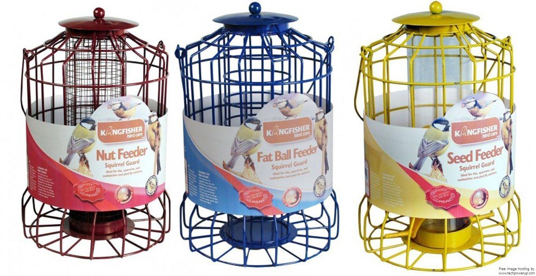 Lot de 3mangeoires à oiseauxanti-écureuils, pour noix, graines et boules de graisse Emballage d'origine h: 30cm w: 17cm d: 17cm graines et boules de graisse Emballage d'origine h: 30cm w: 17cm d: 17cm Bonnington Plastics Ltd