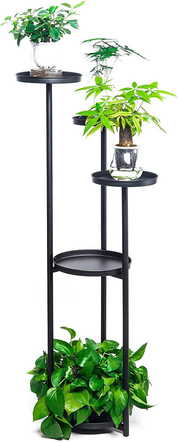 5 Potted Round Flower Metal Shelves Plant Pot Stand Decoration for Indoor Outdoor Garden