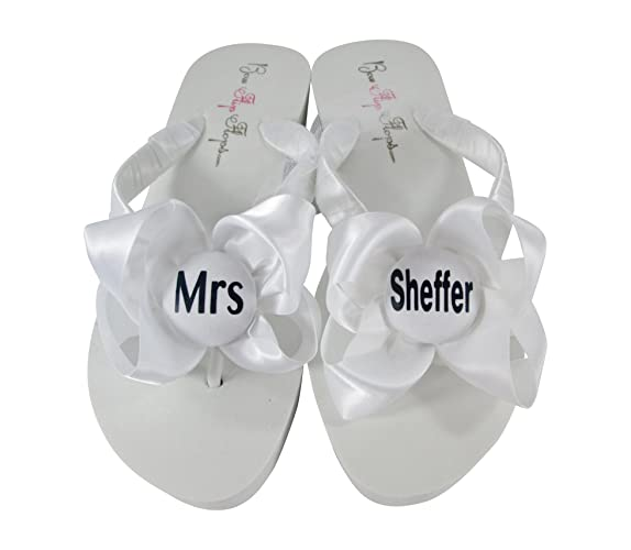 b2ab273c7 Amazon.com  Something Blue Wedding Button Mrs Flip Flops - Flat