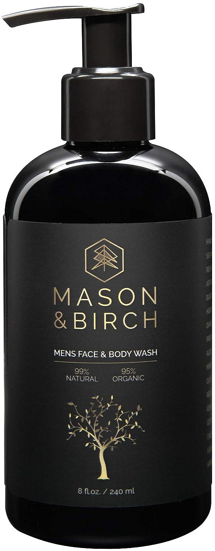 Mason & Birch Men's Face and Body Wash (8 fl. oz.) Natural and Organic Moisturizing Skincare w/Anti-Aging Hyaluronic Acid, Plant Botanicals | Hydrate Dry, Irritated Skin