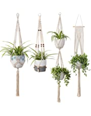 TIMEYARD Macrame Plant Hangers Set of 4 Indoor Wall Hanging Planter Basket Flower Pot Holder Boho Home Decor