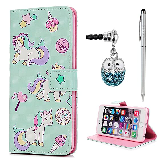 super cute a3787 efd42 iPhone 6 Plus, 6S Plus Wallet Case Unicorn Magnetic Flip Card Holder  Kickstand, PU Leather Slim-Fit Shockproof TPU Inner Protective Cover for  iPhone 6 ...