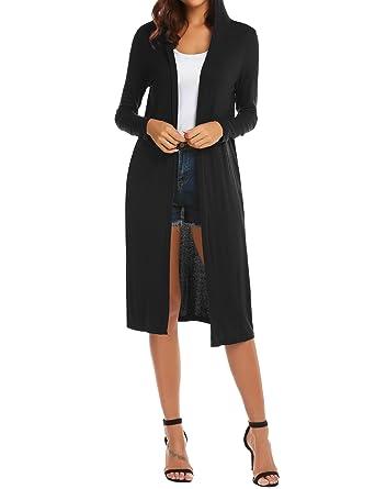 c0986b1391 ELESOL Women s Long Sleeve Waterfall Hoodies Open Front Maxi Cardigan  Sweater Black S