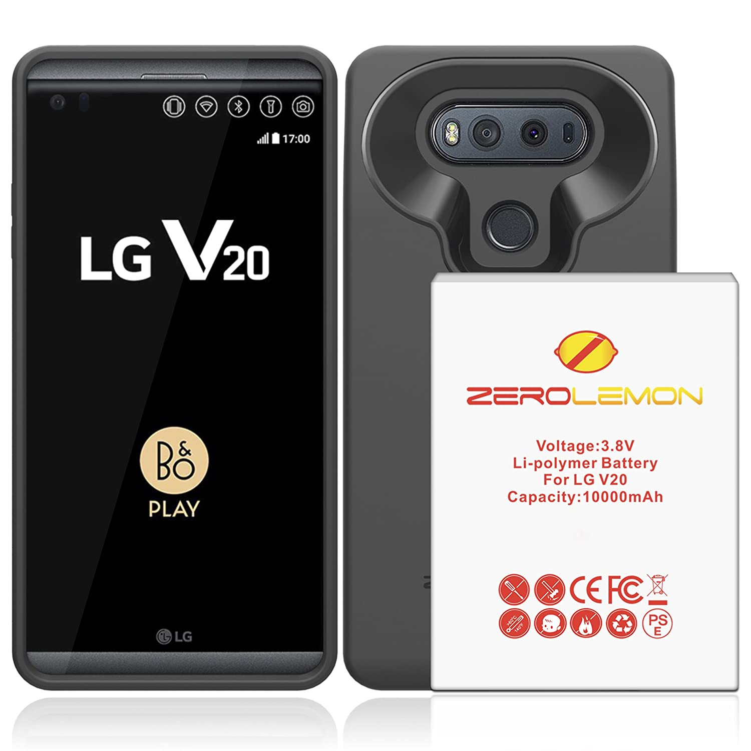 LG V20 Battery Case, ZeroLemon LG V20 10000mAh TriCell Extended Battery with Soft TPU Full Edge Protection Case - Black 4326193002