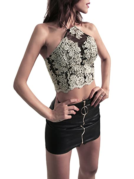61cc67e9bc832b BerryGo Women s Sexy Backless Floral Lace Halter Crop Top at Amazon Women s  Clothing store