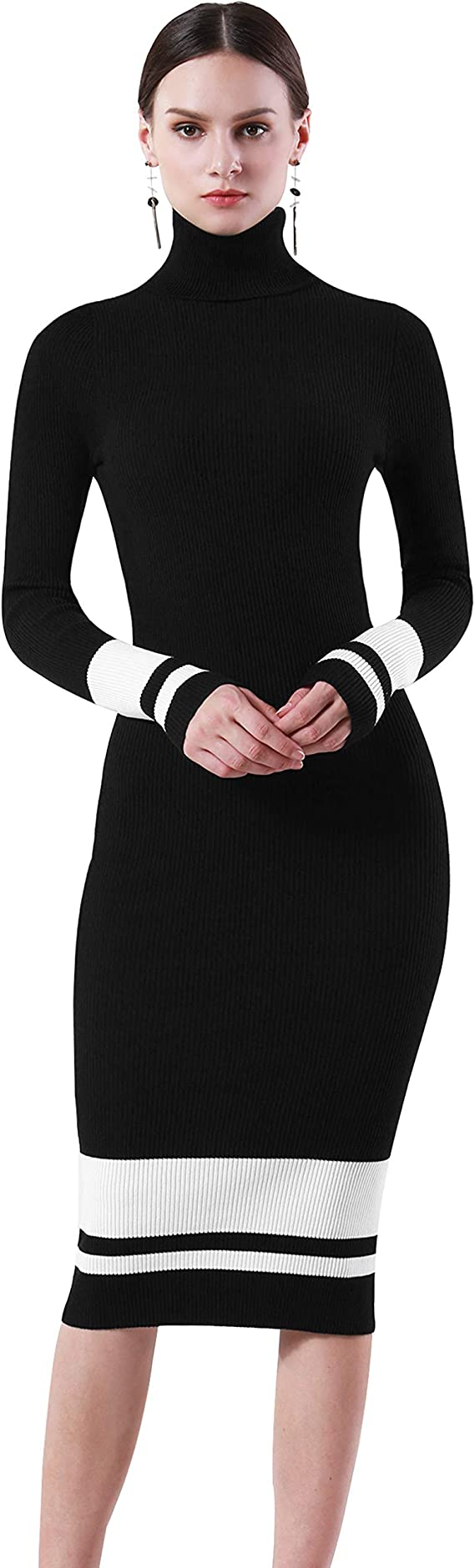 PrettyGuide Women Sweater Dress Turtleneck Ribbed Knit Slim Fit Long Sleeve Midi Dress