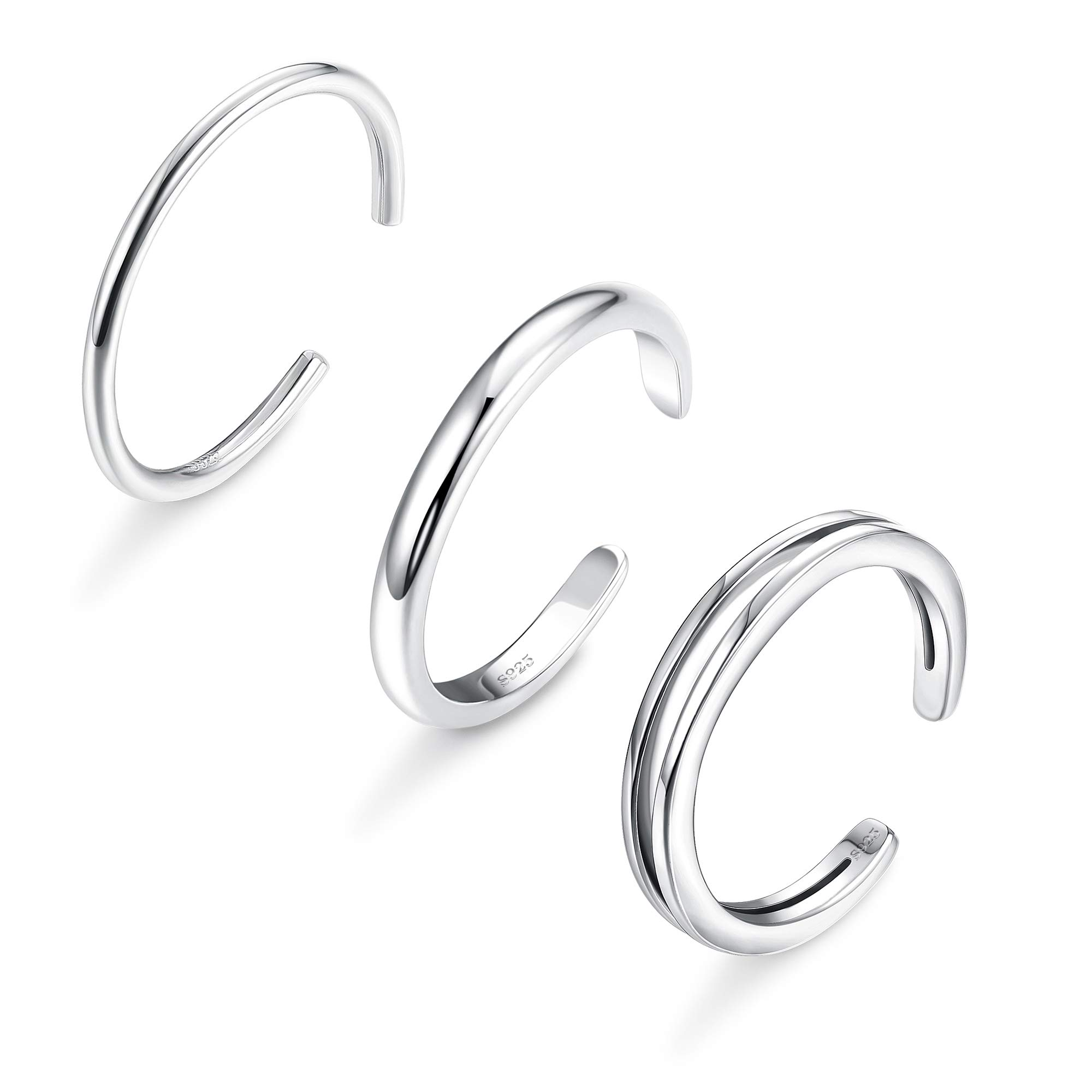 Sllaiss 3PCS 925 Sterling Silver Toe Rings for Women Girls Simple Open Thin Band Ring Adjustable