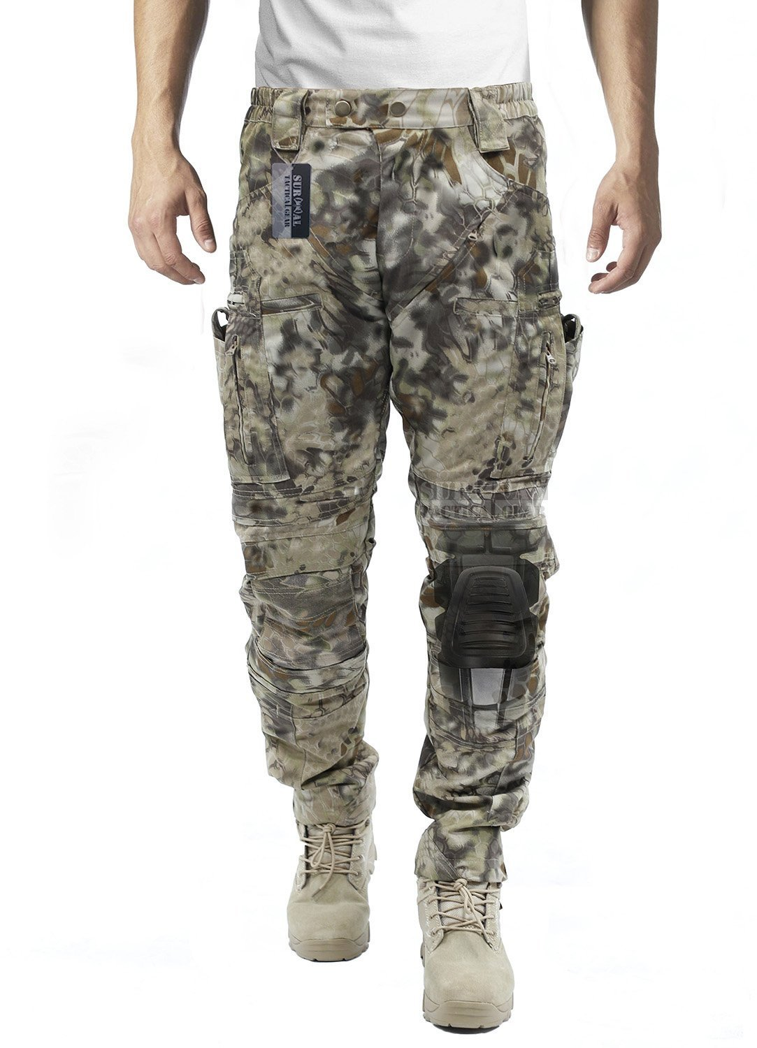 Survival Tactical Gear Men's Airsoft Wargame Tactical Pants with Knee Protection System & Air Circulation System (Nomad Camo, S) by Survival Tactical Gear
