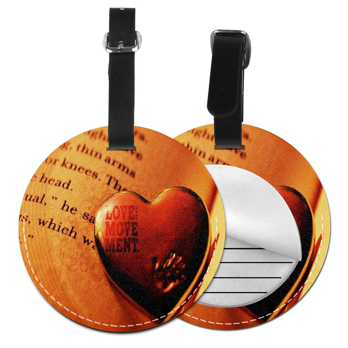 Love Book Wallpaper Luggage Tags Leather Name ID Labels with Back Privacy Cover for Travel Bag Suitcase 4 Pack by Rachel Dora