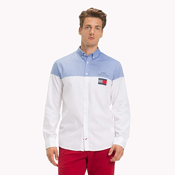 587967ae Tommy Hilfiger Men's Color Block Casual Shirt , Blue (Shirt Blue/ Bright  White 902