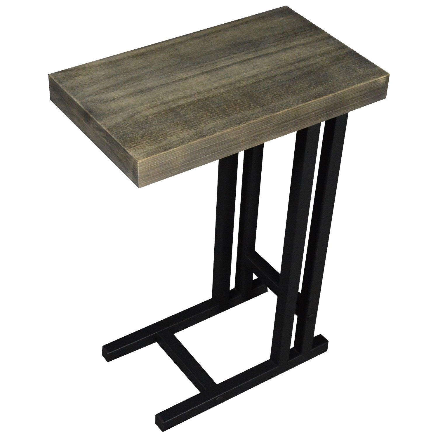 The Alex C Table/End Table/Laptop Stand, Solid Wood Top w/Black Welded Steel