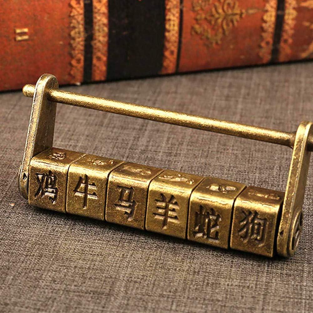 Gobesty candado de contrase/ña Vintage Cerradura de combinaci/ón antigua vintage zodiaco chino retro palabra tallada contrase/ña candado cerraduras para gabinete joyer/ía caja de madera