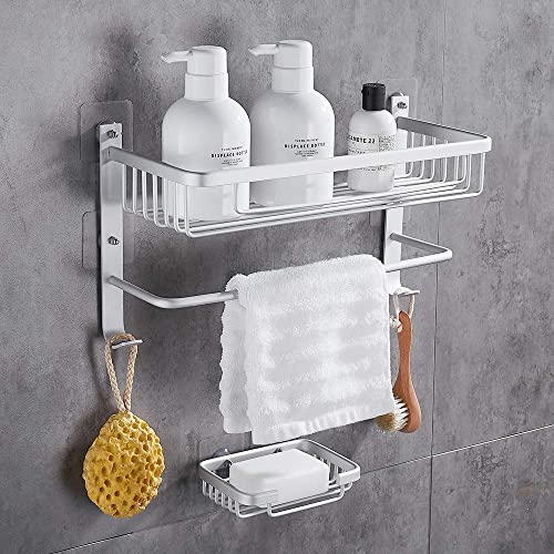 GERUIKE Shower Corner Shelf Bathroom Caddy Self Adhesive Organizer Aluminum Wall Mounted, Silver