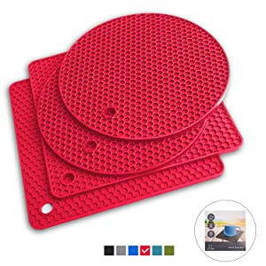 Q's INN Red Silicone Trivet Mats | Hot Pot Holders | Drying Mat. Our 7 in 1 Multi-Purpose Kitchen Tool is Heat Resistant to 440°F, Non-slip,durable, flexible easy to wash and dry and Contains 4 pcs.