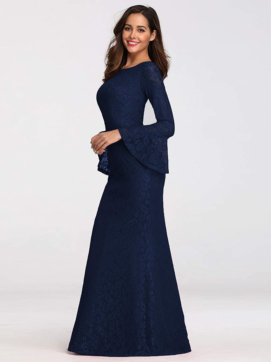 Ever-Pretty Womens Elegant Round Neck with Long Flare Sleeves Mermaid Evening Dresses EZ07798