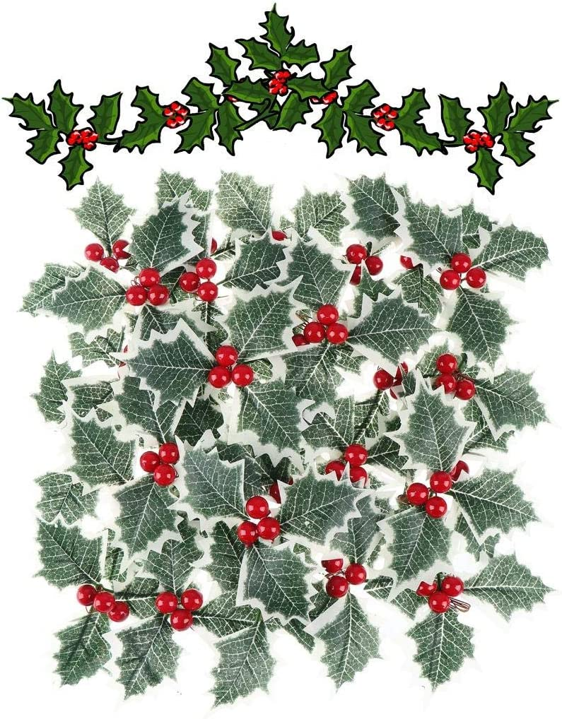 XIDAJIE 60Pcs Artificial Holly Berry with Green Leaves Red Berry Pine Cone for Christmas Arrangement Craft Wedding Party Festive Home Decorations