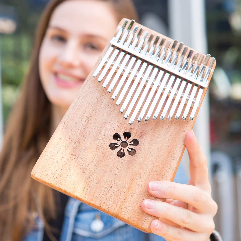 Aileen Lexington Kalimba 17 Keys Thumb Piano, Portable Thumb Piano Mbira Sanza Mahogany Body Ore Metal Tines Great Gift