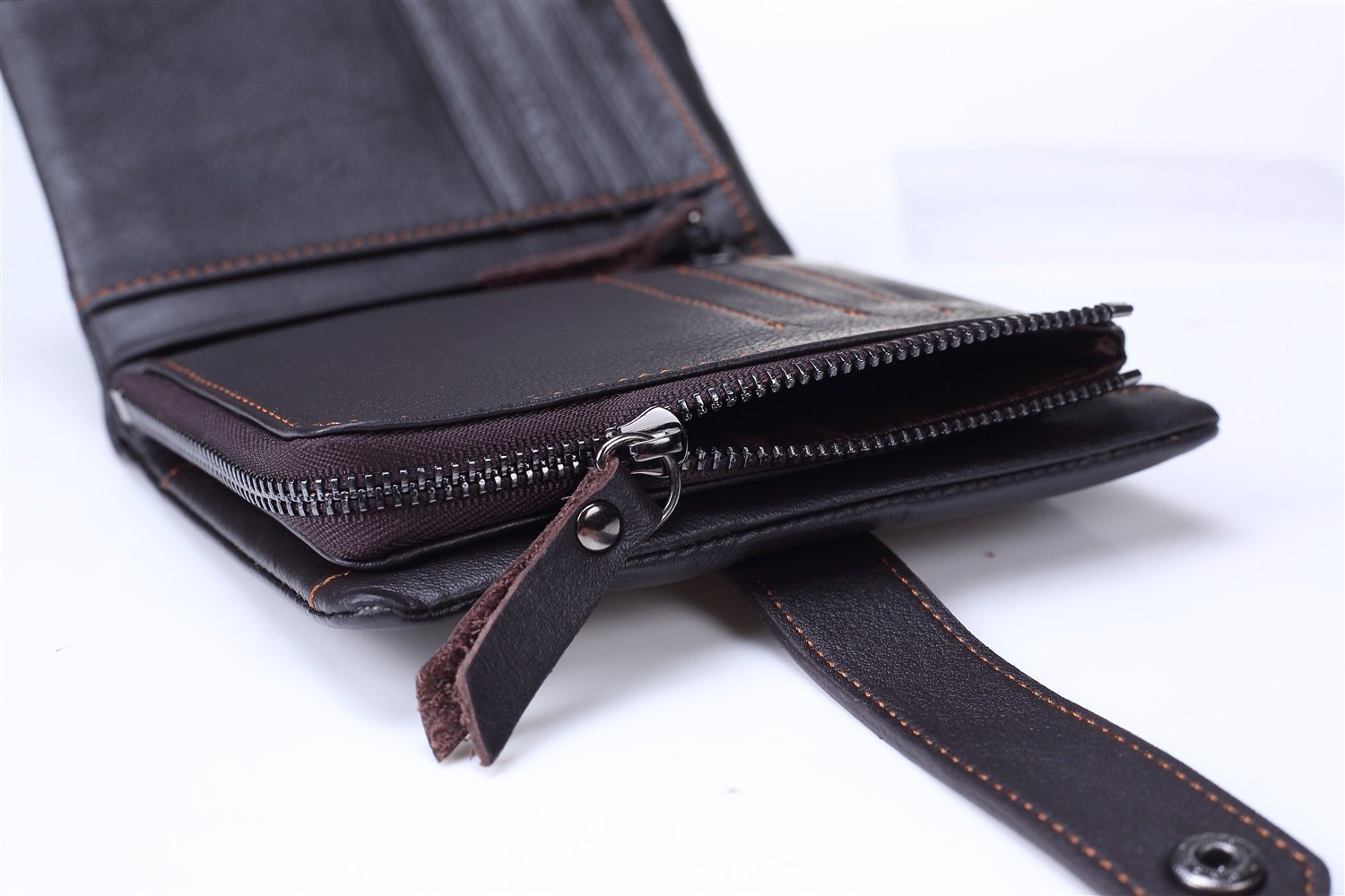 VAXT Direct Mens Wallet Poor The First Layer of Leather Handbag Zipper Change Holder Upright Three-fold Wallet Color : Brown, Size : S