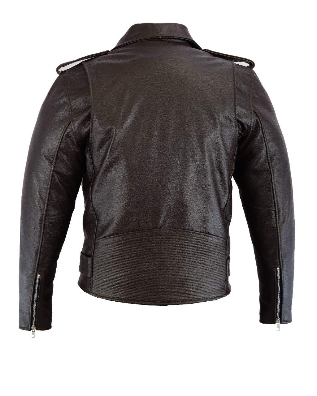 JET Chaqueta Moto Cuero Hombre con Protecciones Vintage Clasico Iconico Retro BRANDO Negro liso, S