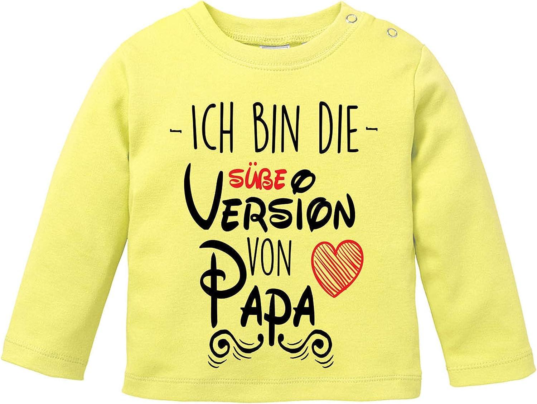 EZYshirt/® Ich bin die s/ü/ße Version von Papa Bester Papa der Welt T-Shirt Baby Langarm Bio Baumwolle