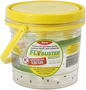 Flybuster Fly Trap - Outdoor Living, Non-Toxic Fly and Pest Control Trap, 1-Liter, Compact