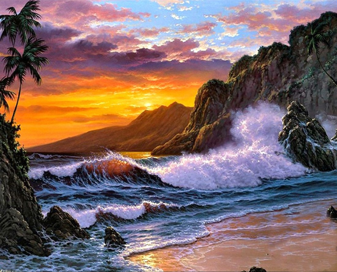 21secret 5D Diamond Diy Painting Full Round Drill Handmade Sunset Beach Rough Waters Landscape Cross Stitch Home Decor Embroidery Kit