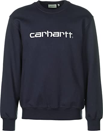 Sweat Carhartt logo brodé Dark Navy: Amazon.