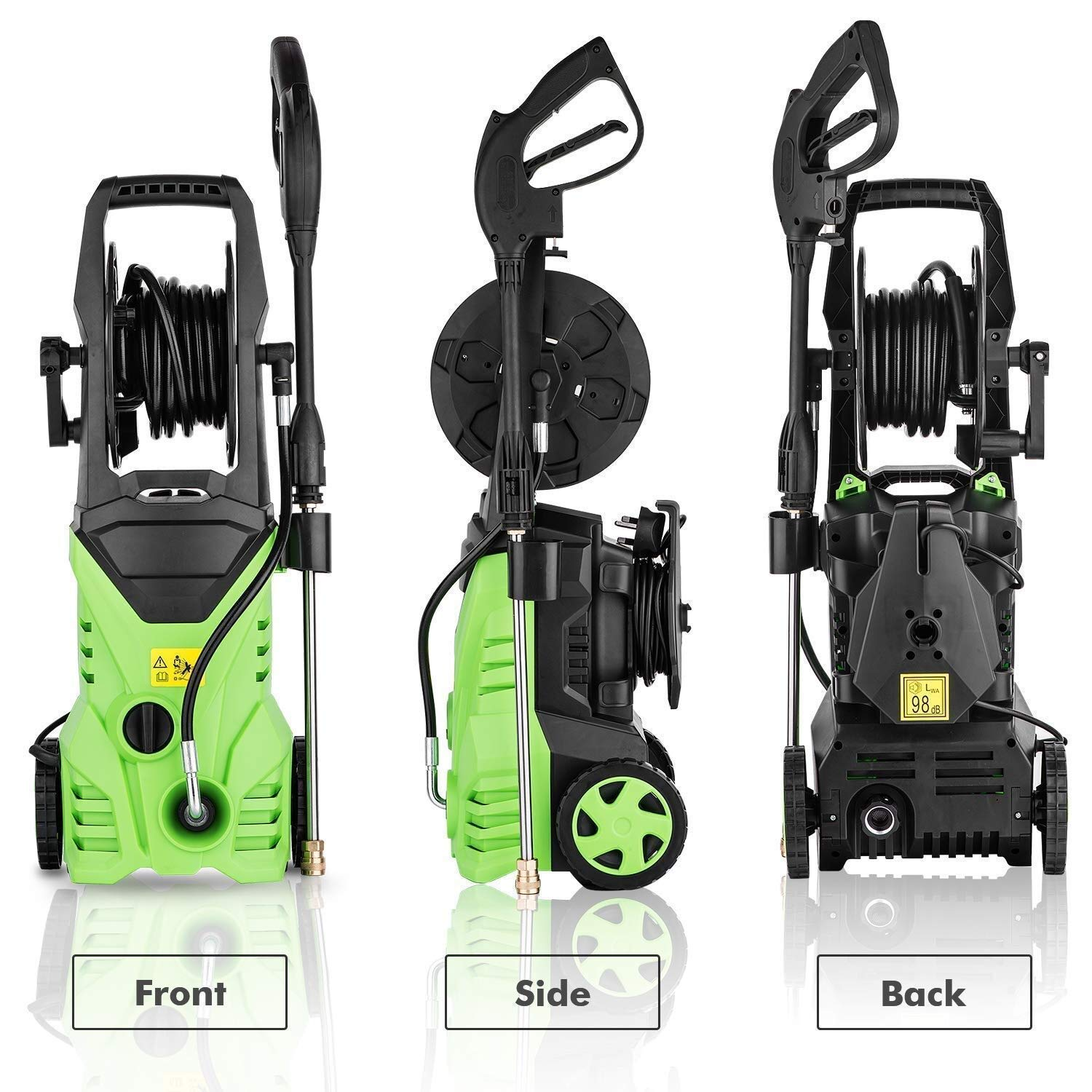 Homdox Electric High Pressure Washer 3000PSI 1.8GPM Power Pressure Washer Machine with Power Hose Gun Turbo Wand 5 Interchangeable Nozzles (Size 2)