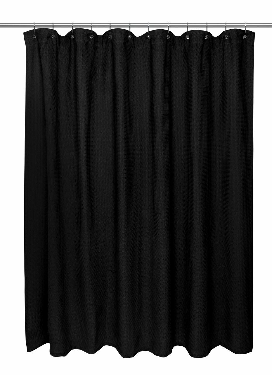 Home Bargains Plus Hotel Quality Waffle Weave 100% Cotton Extra Long Shower Curtain - 72'' Wide x 84'' Extra Long - Black by Home Bargains Plus