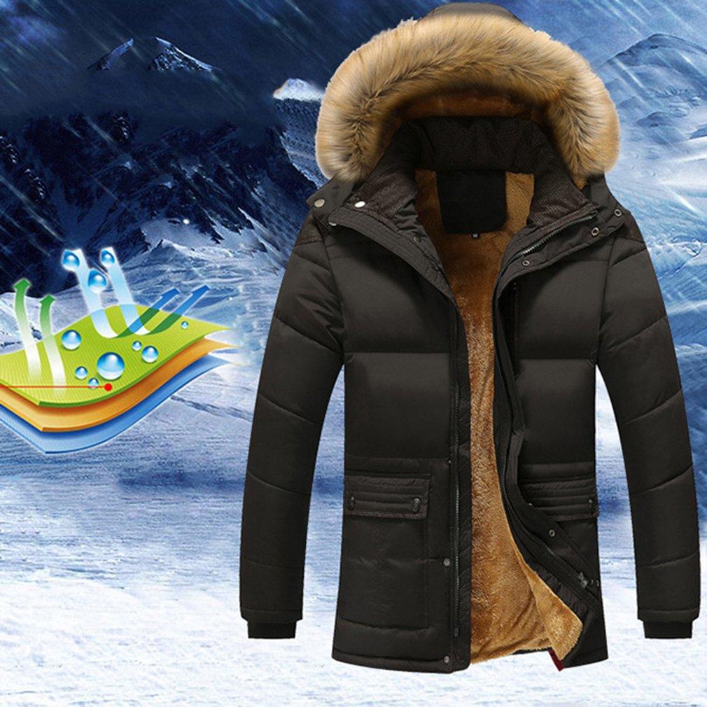 Guangqiメンズmid-length暖かい厚み付けダウンコートフード付き冬暖かいコットンジャケット 2XL ブラック 51 B076F4JF5N  ブラック 2XL