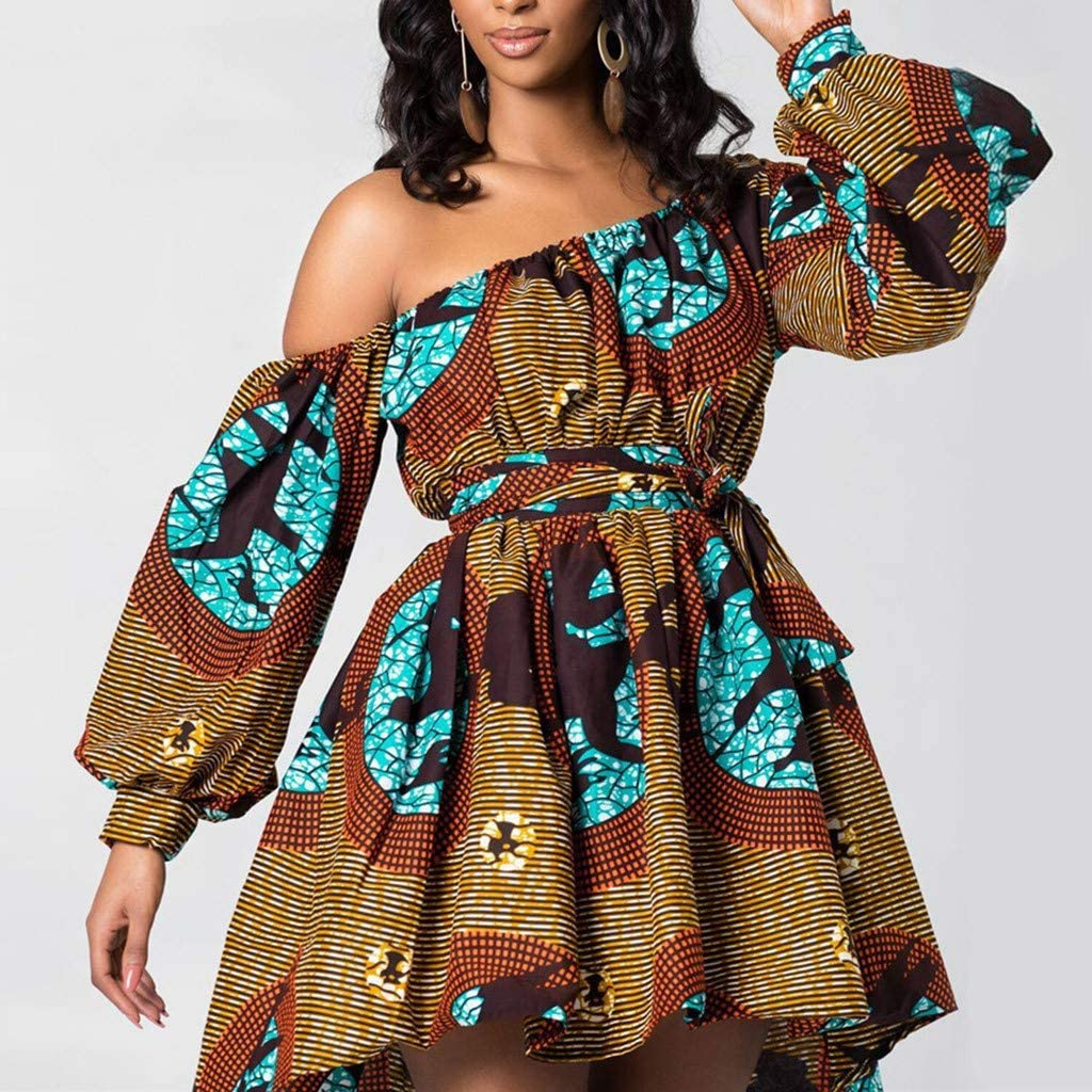 Rompers for Women Long Sleeves Boat Neck Floral Off The Shoulder Strapless Mid Rise Casual Jumpsuit with Belt Sundress