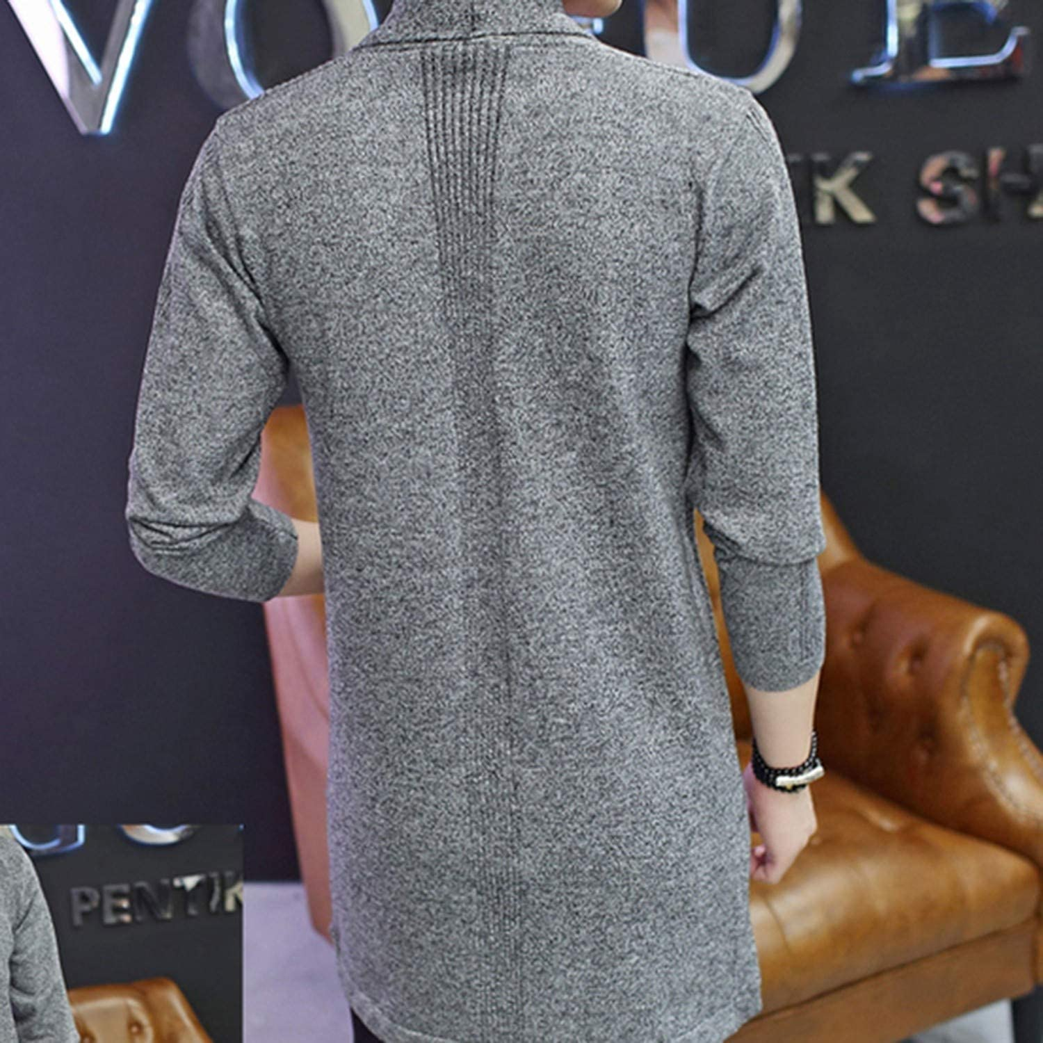 Noon-Sunshine Casual Md-Long Long Sleeve Knitted Cardigan Mens Coat Slim Fit Outwear,Navy Blue,M