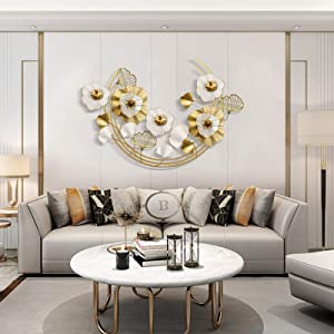 WGDSF Golden Ginkgo Leaf Large Decorative Metal Wall Art Sculptures Home Décor Miniature Home Desktop Decoration Living Room Bedroom Office Decoration