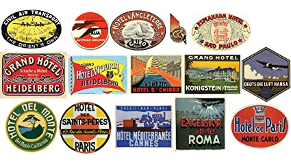 amazon com vintage hotel luggage label stickers pack of 15