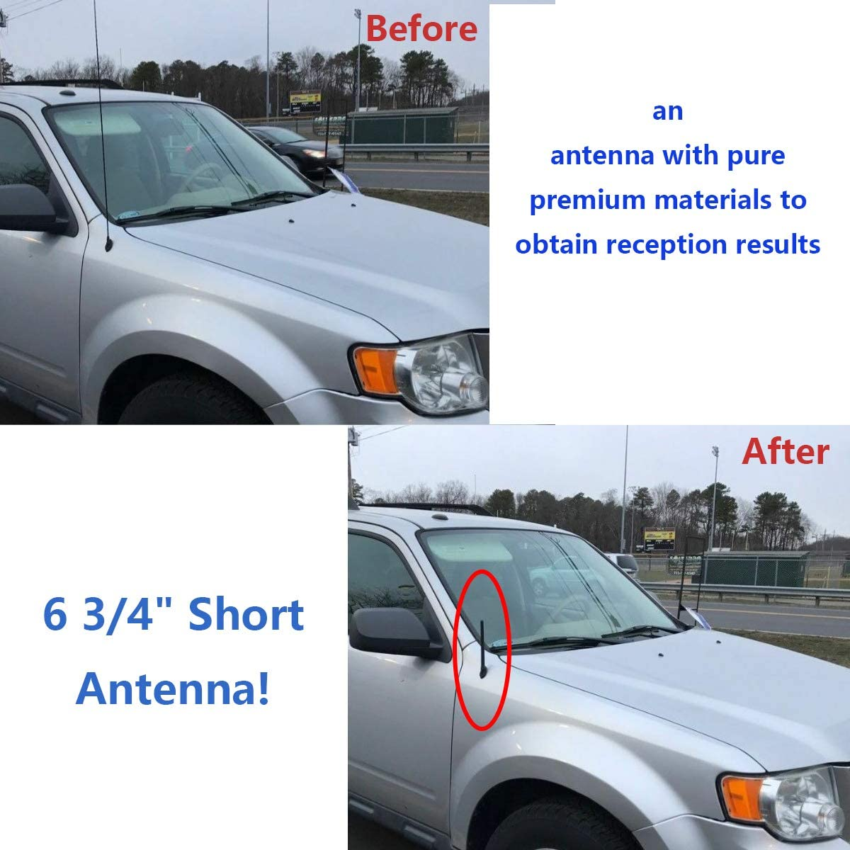 6 3//4 Inch Antenna Mast For 2009-2020 Ford F-150 Pickup Short Black Rubber Antenna(Includes 3 replaceable screws)