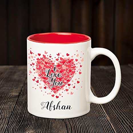Buy Huppme I Love You Afshan Personalized Inner Red Name Mug Online At Low Prices In