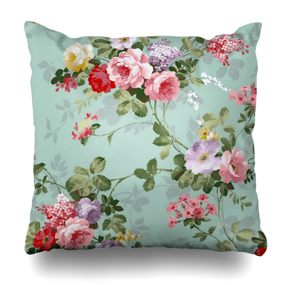 Soopat Decorative Pillow Cover 16''X16'' Two Sides Printed Vintage Elegant Pink Red Roses Pattern Throw Pillow Cases Decorative Home Decor Indoor Nice Gift Kitchen Garden Sofa Bed Car