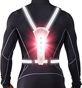 LED Reflective Running Vest, High Visibility Warning Lights for Runners, Adjustable Elastic Safety Gear Accessories for Men/Women Night Running, Walking, Cycling/Biking