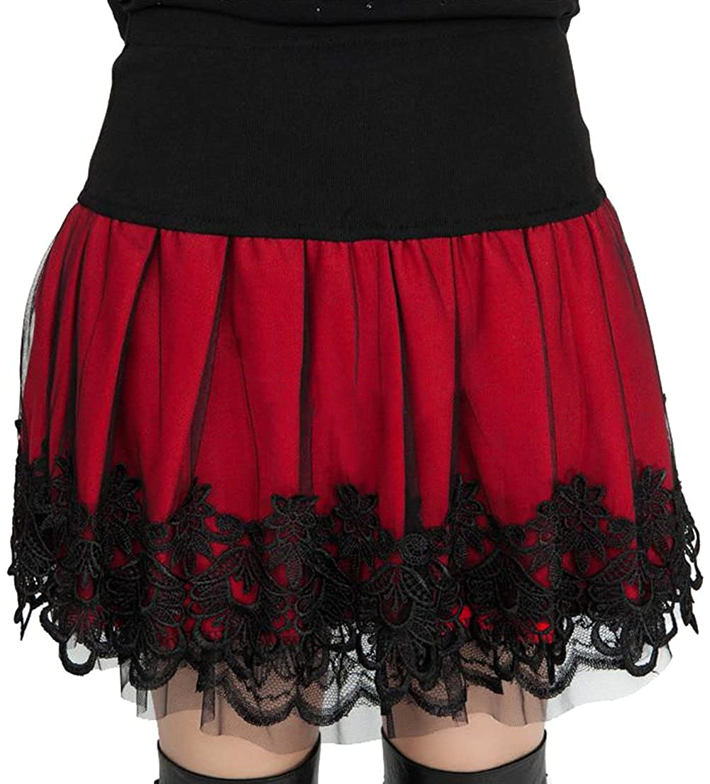 Sweetylove Women's Stretch High Waist Pleated Lace Tulle Tutu Casual Skirt