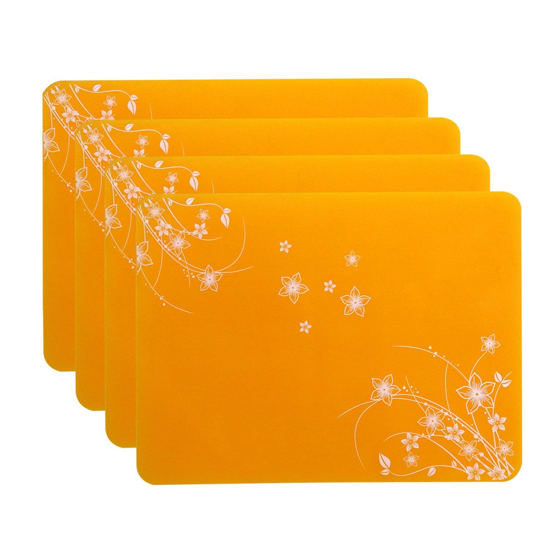 WellhouseソフトシリコンプレースマットBakingマット防水Nonstick Nonskid食品グレードMultipurpose断熱材ホットテーブルマット イエロー flower placemats-yellow-4pack B077XRT4M9 イエロー|4 イエロー