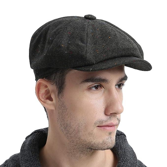 VOBOOM Wool Tweed Newsboy Gatsby Ivy Cap Golf Cabbie Driving Hat (57cm 7 1 debd15b363f