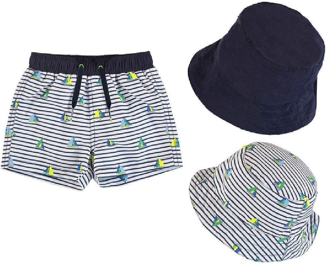 2 Pc Set Baby or Toddler Boys Swim Trunks and Reversible Sailing Sun Hat Set