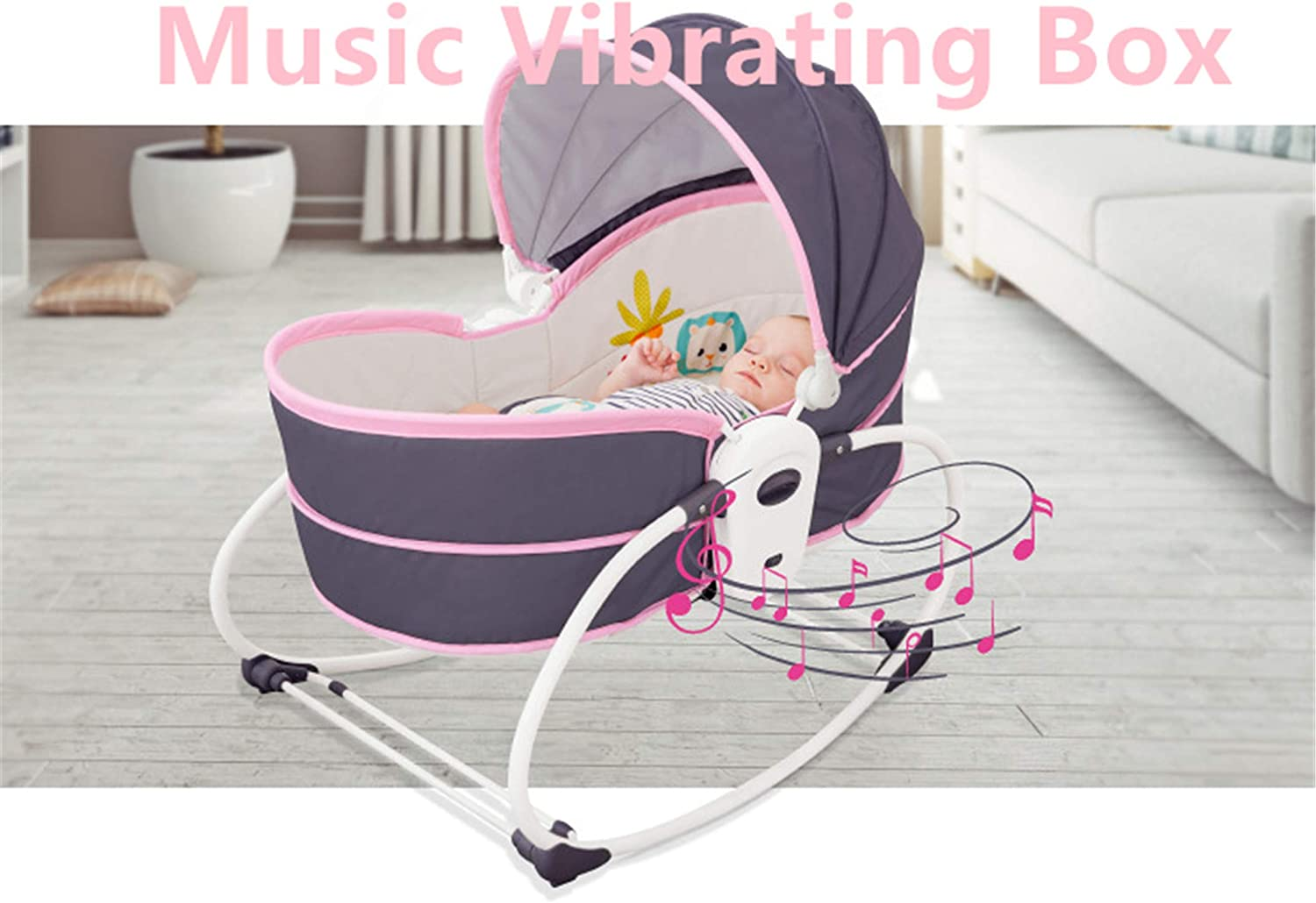 5-in-1 Baby Rocking Bassinet,Adjustable and Detachable Canopy with Music and Toys,Rocking Infant Crib Sleeping Chair for Travel Blue