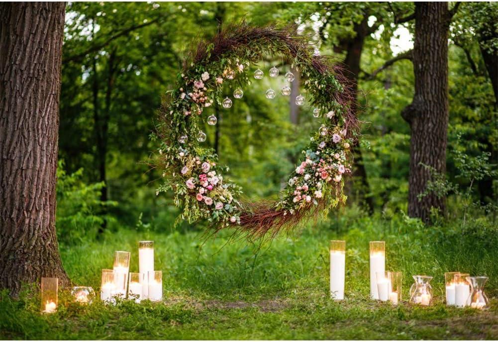 Amazon Com Aofoto 10x7ft Outdoor Spring Wedding Photography Background Cloth Green Forest Trees Grassland Lawn Wedding Wreath Candels Backdrop Photo Studio Props Vinyl Wallpaper Camera Photo