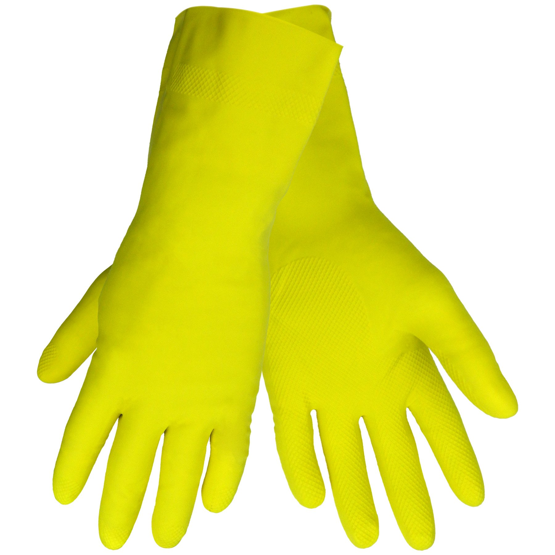 Global Glove 150FE Flock Lined Latex Economy Grade Glove, Chemical Resistant, Large, Yellow (Case of 144)