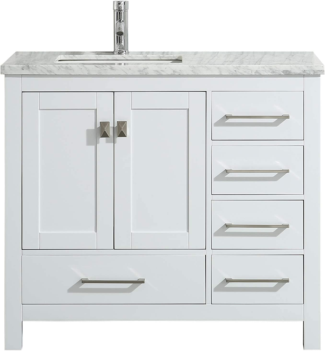 Eviva TVN414-36X18WH London 36 White Bathroom Vanity Combination,