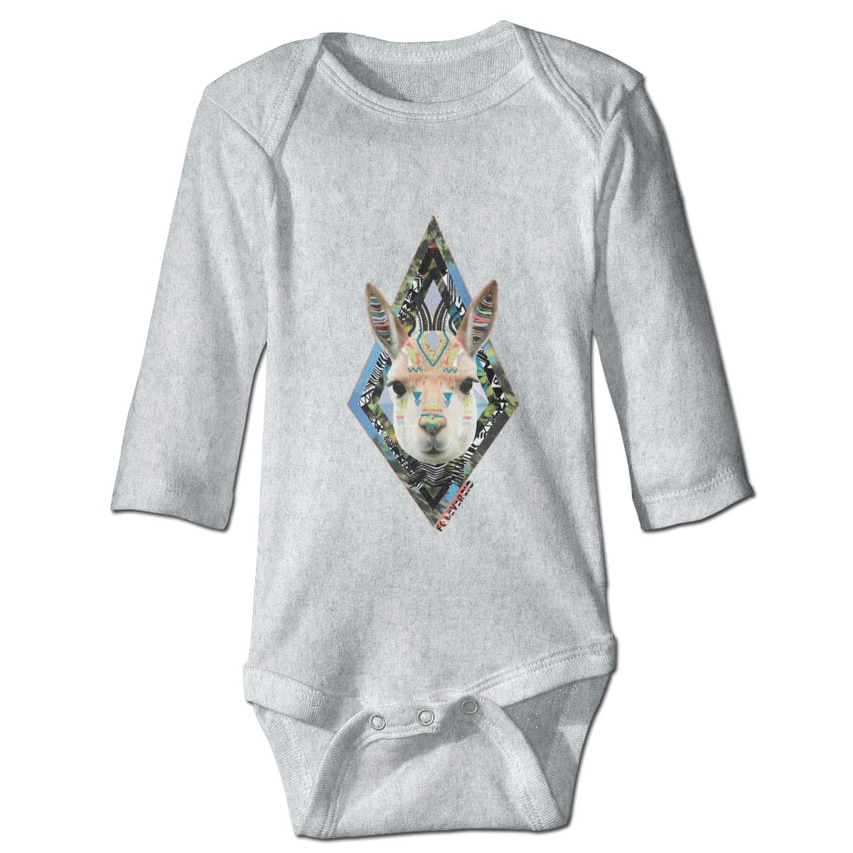 Diamond Grass Mud Horse Graphic Newborn Baby Long Sleeve Bodysuit Romper Infant Summer Clothing