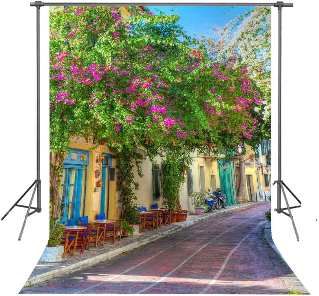 FUERMOR 5x7ft Beautiful Street Photo Backdrop Flowers House Photography Background Props Studio Murals GEFU664