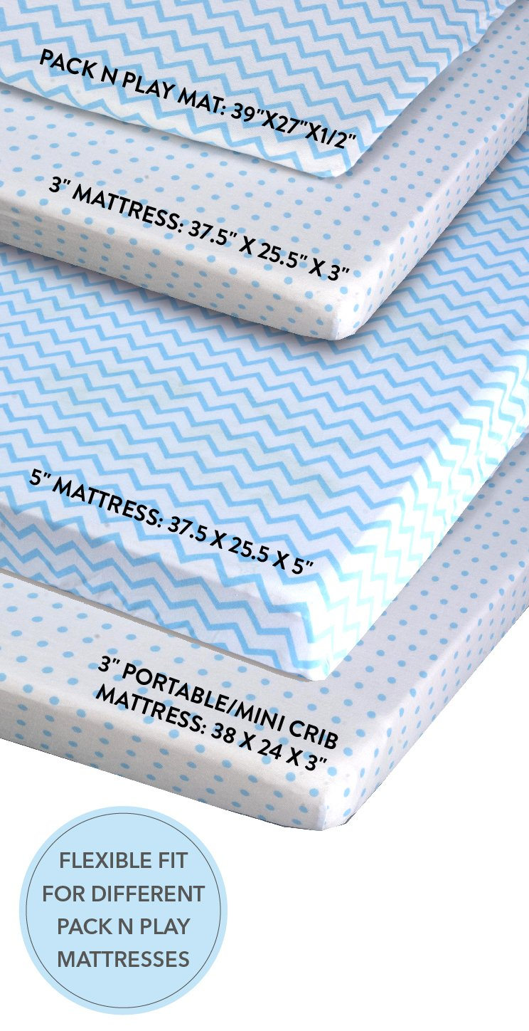 Amazon.com : Pack N Play Portable Crib / Mini Crib Sheet Set 100% Jersey  Cotton for Baby Boy by Ely's & Co. - Blue Chevron and Polka Dot 2 Pack :  Baby