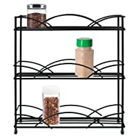 Free-Standing Spice Rack Organiser - Kitchen Cupboard Storage Shelf - Powder Coated Metal Organizer For Herb Jars - 3 Tier Stand - By ASAB - Curve